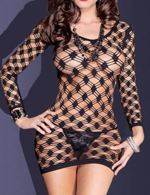 Long Sleeve Hollow Out Knit Babydoll