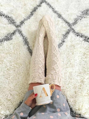 Knitted Long Thigh High Socks