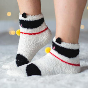 Warm 'n Fuzzy Black Spots Kitty Socks