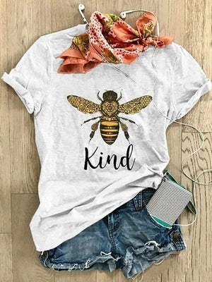 Women's Casual Cotton-Blend Short Sleeve Printed Letter Shirts & Tops