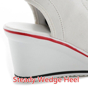 Women's Peep Toe Wedge Slingback Canvas Shoes