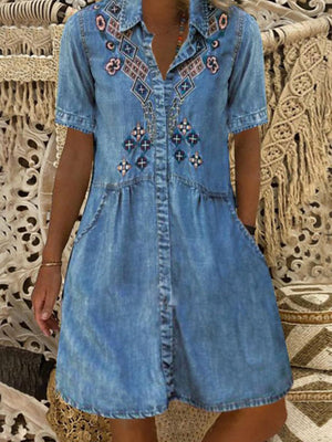 Women Pockets Tribal Print Casual Shirt Denim Dresses