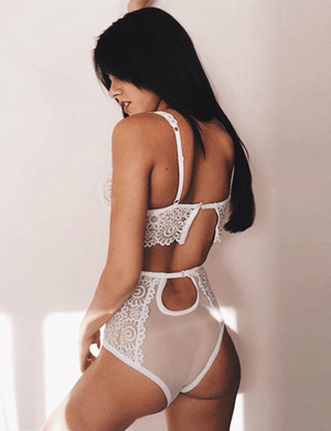 Lace Corset Push Up Embroidery Bralette & Panties Set