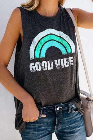 GOOD VIBE Printed Casual Vest T-Shirt