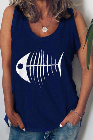 Fishbone Printed Casual Tank Top