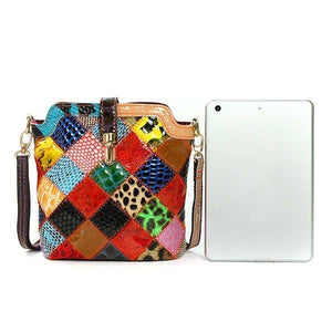 Women Genuine Leather Crossbody Bag Ladies Floral Elegant Shoulder Bag