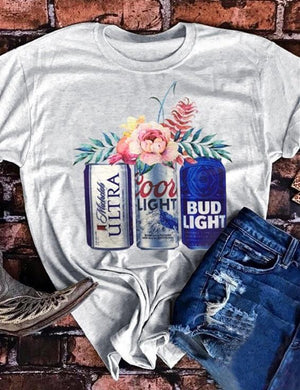Floral Coors Light Bud Light T-Shirt