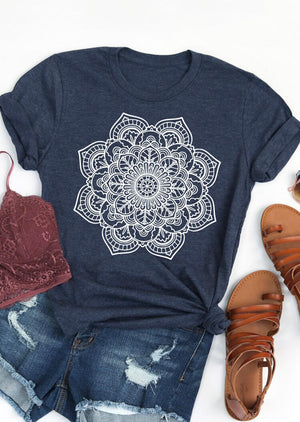 Mandala Printed O-Neck T-Shirt Tee - Deep Blue