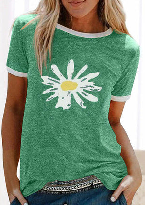 Daisy Floral Color Block Splicing T-Shirt Tee - Green