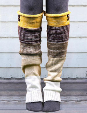 Color Block Thigh-High Socks