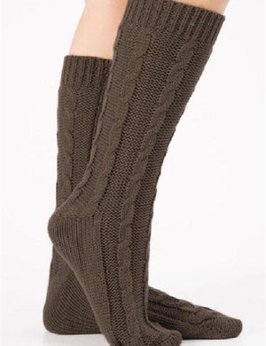 Cable Knitted Warm Mid-Calf Boot Socks