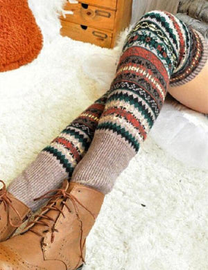 Winter Geometric Striped Thigh-High Leg Warmer Socks