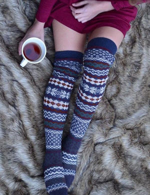 Snowflake Geometric Thigh-High Socks Knitted Socks