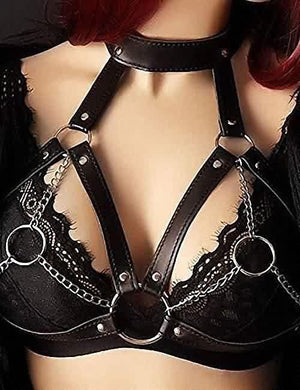 Halter Leather Metal Chain Harness