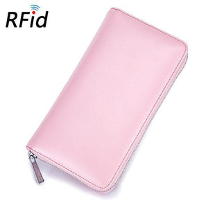 RFID Antimagnetic Leather 36 Card Slots 6inch Phone Card Holder Wallet
