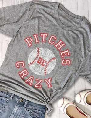 [CLEARANCE] Pitches Be Crazy Baseball Print T-Shirt