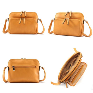 MANDY Women Solid Multi-pockets Casual Leather Crossbody Bag