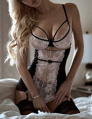 Maid Lace Patchwork Strappy Lingerie Set