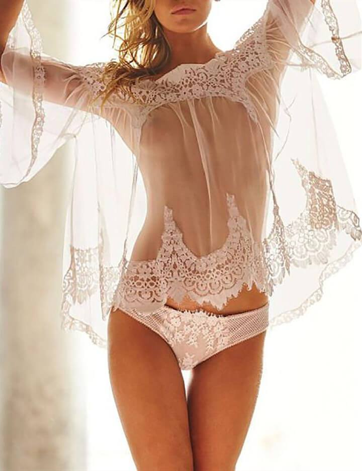Eyelash Floral Lace Off Shoulder Lingerie Set
