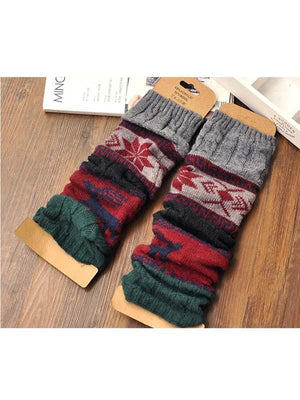 Ladies Twisted Twist Deer Snowflake Socks