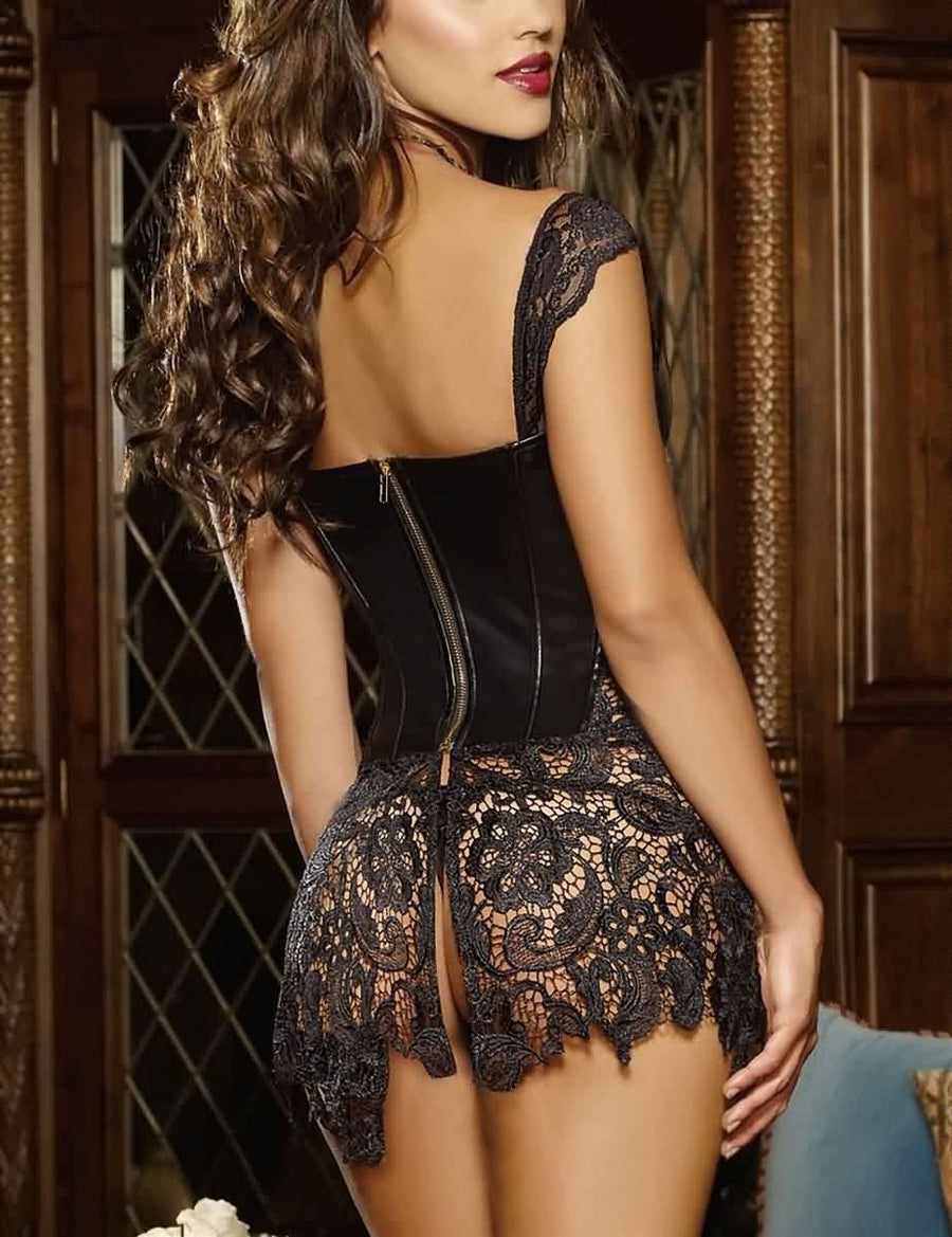 Lace Faux Leather Criss Cross Bustier