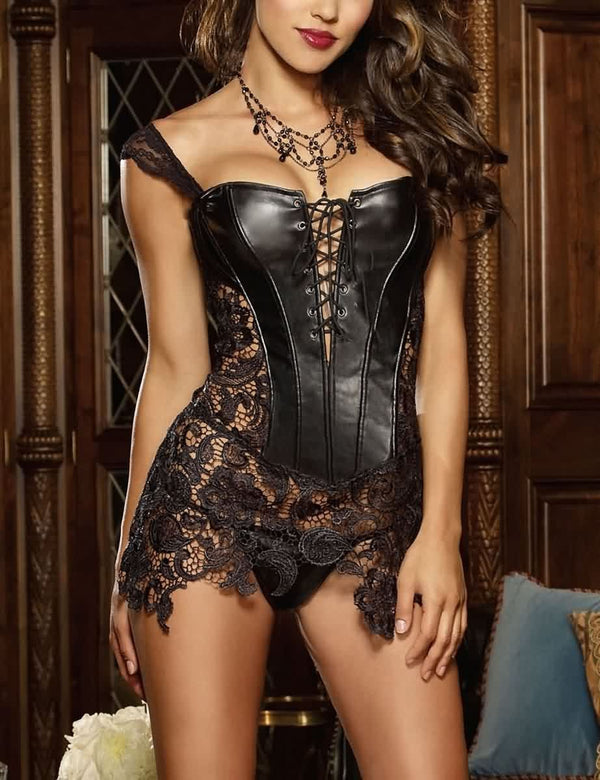 [PRE-SALE] Lace Faux Leather Criss Cross Bustier