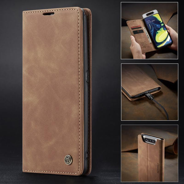Auroras For Samsung Galaxy Cover Case Flip Magnetic Matte Leather Luxury Wallet Card Stand Phone Case For Samsung Galaxy S7, S7+, S8, S8+, S9, S9+, S10, S10+, A20, A30, A50, A70, A80,NOTE 8, NOTE 9, NOTE 10+, NOTE 10