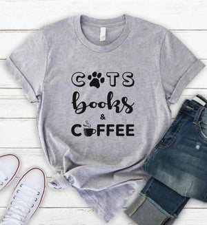 Cat Books Coffee T-shirt