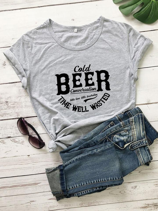 Cold Beer Conversation The Well Wasted T-shirt