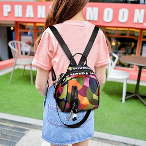 Women's Fashion Oxford Contrast Color Waterproof Large Capacity Zipper Shell Backpack