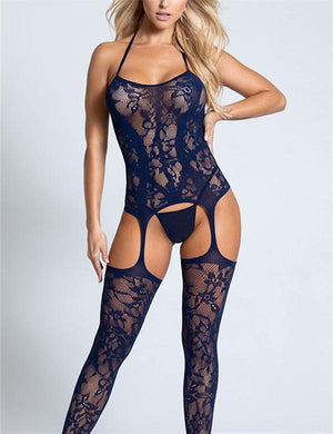 Lace Halter Garter Body Stocking