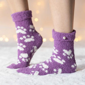 Warm 'n Fuzzy Purple Paw Socks