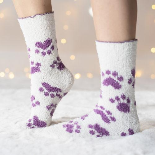 Warm 'n Fuzzy Creme and Purple Paw Socks