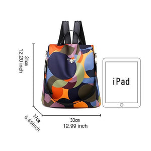 Women's Fashion Print Waterproof Nylon Bags Anti-theft Large Capacity Zipper Backpack
