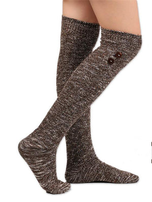 Over Knee Thigh-High Button Socks