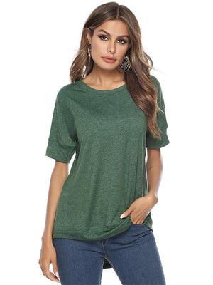 Women Solid Round Neck Tee T-shirt