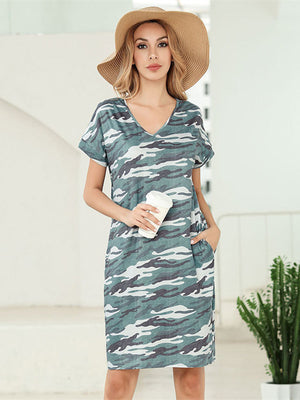Women V Neck Printed Flower Dress