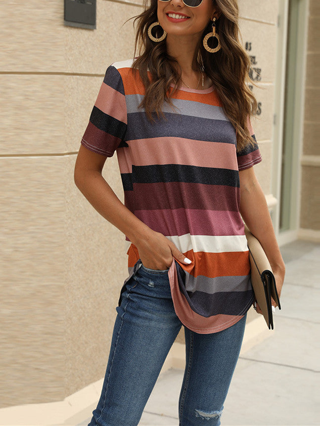 Women Printed Stripes Short Sleeve Tee T-shirt