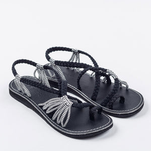 Palm Leaf Black-Zebra