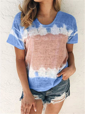 Tie-Dyed Round Neck Short Sleeve Casual T-Shirt