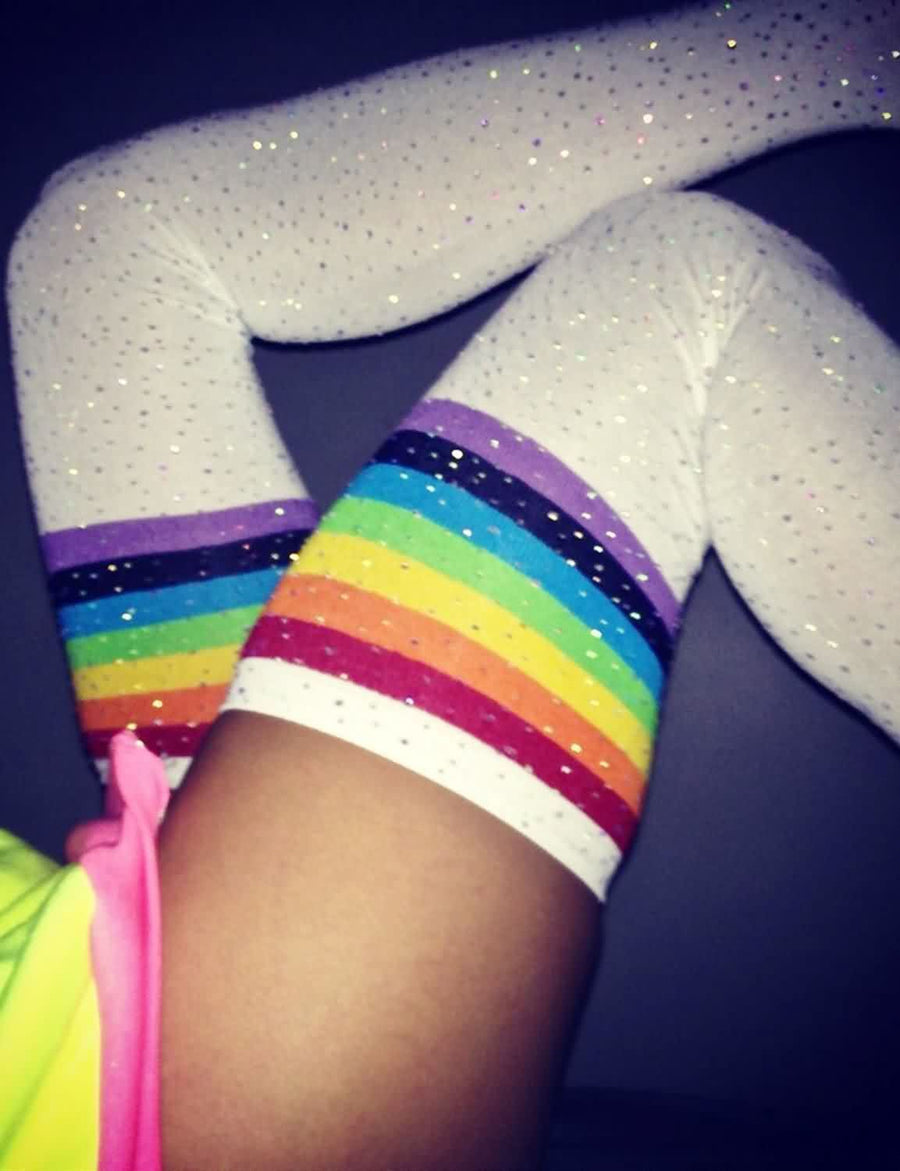 Glittering Rhinestone Striped Over Knee Socks