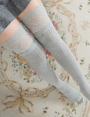 Knit Over Lace Knee Long Thigh High Socks