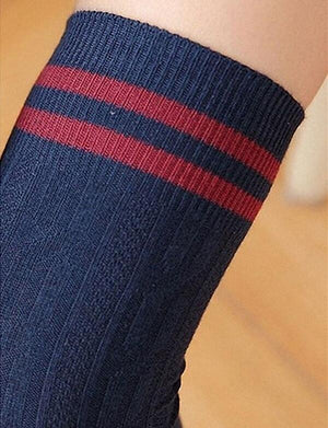 Twist Striped Cotton Over Knee Socks