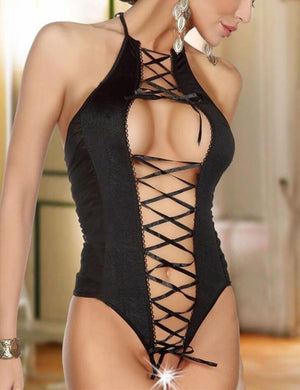 Halter Crossing Straps Patchwork Bodysuit