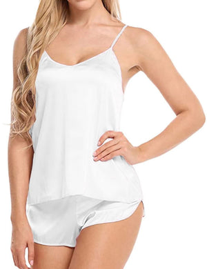V Neck Spaghetti Strap Solid Sleepwear Set