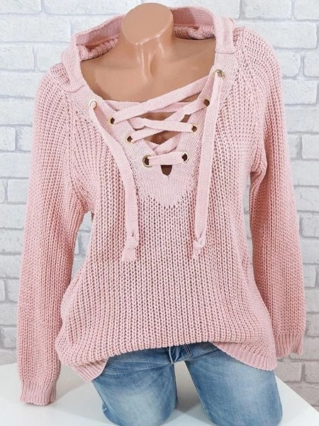 Casual Cute Pure Color Knitted Long Sleeve Pullover Sweater