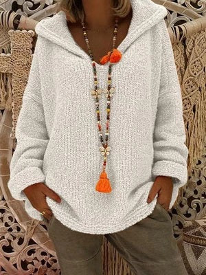 Hooded Plain Loose Long Sleeve Knitting Sweater
