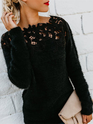 Women Plus Size Solid Long Sleeve Lace Sweater S-5XL