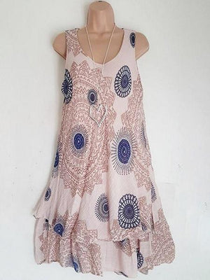 Double-layer Printed Sleeveless Round Neck Dress