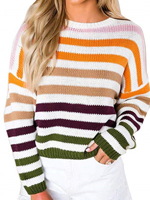 Women Knitted Stripes Sweater